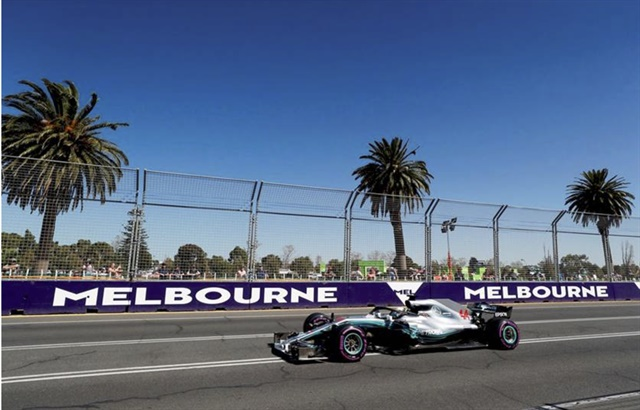 Lewis Hamilton's Mercedes set the pace on the Albert Park course on Friday.