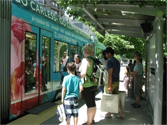 Passengers preparing to on-board the South Lake Union Streetcar.
