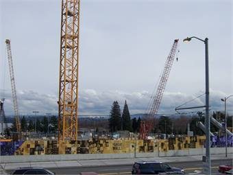 Construction of the Sound Transit light rail line next to University of Washington's Husky Stadium.