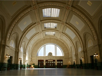 Union Station's Great Hall features a majestic, barrel-vaulted ceiling and 460 shining lights making it one of downtown Seattle's iconic public spaces. Photo: Sound Transit