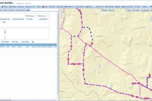 Shown here is a planned versus an actual route and stop comparison on a single map in the vMax Compass. Transportation staff can use the tool to plan and analyze routes, track vehicles and students, and view the live status of onboard video equipment in real time. Photo courtesy of Seon Design.
