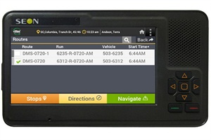 The vMax Navigator is an in-vehicle mobile data terminal that gives drivers  route directions, student ridership lists and electronic vehicle inspection templates.