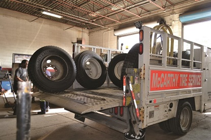 The warehouse behind McCarthy Tire Service's corporate office in Wilkes-Barre, Pa., provides tires for seven local stores, but also serves as a home base for service trucks. In July the company answered 5,600 calls for roadside service.