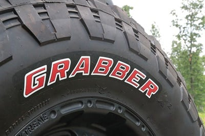 Thirteen of the Grabber X3 sizes will be available with a choice of either black lettering or red letters.