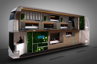 The double-decker Snoozeliner is outfitted with a storage system for personal belongings, USB chargers, and Wi-Fi. Photo: Simba