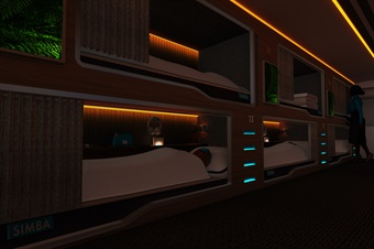 The vehicle will feature sound isolation, black-out blinds, and a recessed amber light-therapy system. Photo: Simba