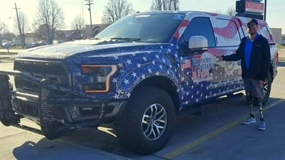 Scott West was the recipient of a 2018 Ford F-150 Raptor in a veterans-sponsored partnership from Simple Tire.