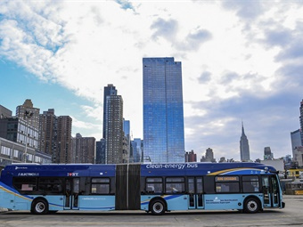 The new electric articulated buses represent the next generation of MTA buses, just months after its iconic blue-and-white RTS buses were retired from service after nearly 40 years.