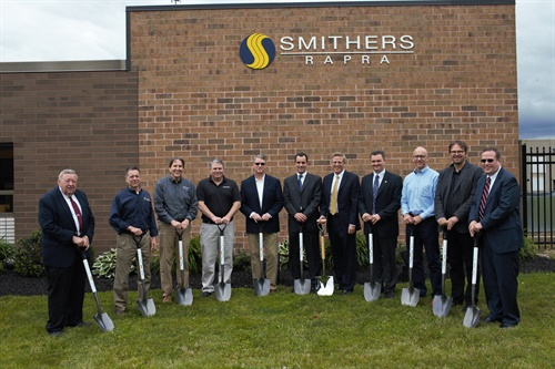 The officials who gathered for the groundbreaking were, left to right, Frank Seman, Mayor of Ravenna; Keith Grabo, Goodyear; Kelvin Standard, Michelin; John Sabistina, Bridgestone; James Fogarty, Hankook; Nathaniel Leonard, Smithers; Mike Hochschwender, The Smithers Group; Jim Popio, Smithers Rapra; Jeff Endicott, Cooper; Knut Budde, Continental; and Bradford Ehrhart, Portage Development Board.