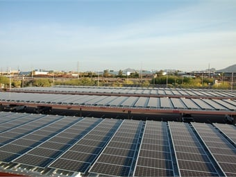 Solar panels installed at Valley Metro Rail Operations & Maintenance Center in Phoenix.