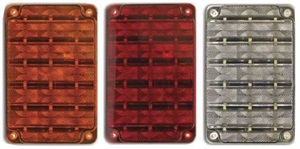SoundOff's new rectangular LEDs are available as park/turn (left), stop/tail/turn (center) and back-up lights.