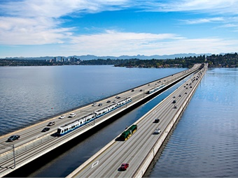 Sound Transit's light rail system from downtown Seattle to Redmond via I-90, light rail vehicles will travel across the Homer M. Hadley Memorial Bridge over Lake Washington. Photo: Sound Transit