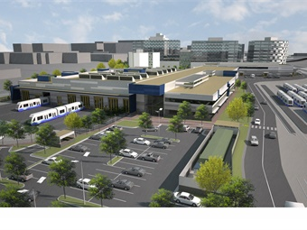 A rendering of Sound Transit's new Operations and Maintenance Facility via VIA Architecture.