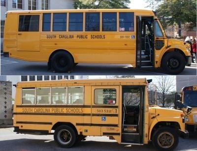The state's new school buses (as pictured above) will replace old buses (as pictured below) from model years 1984-88.