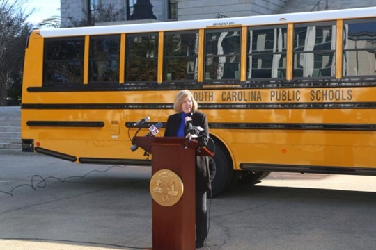 South Carolina Superintendent Molly Spearman, seen here at a press conference, has asked legislators to fund school bus replacement as well as driver and technician pay increases. Photo courtesy South Carolina DOE