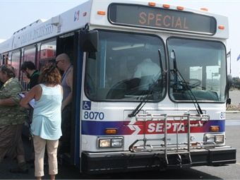 An emergency exercise simulating how SEPTA's 'Special' buses are used during an evacuation or other emergency response. Photo: SEPTA
