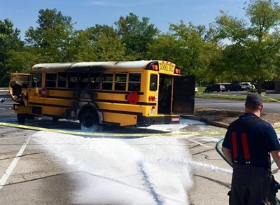 A Special School District of St. Louis County (Mo.) bus was transporting students and staff members when a mechanical problem caused a fire on the bus. No one was injured. Photo courtesy Maryland Heights Fire Protection District