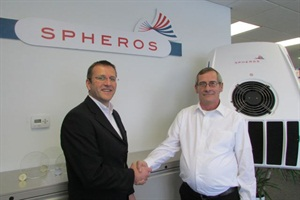 Spheros North America CEO Heiko Baufeld (left) is pictured with Wayne Chandler, plant manager of the company's new Tulsa installation facility.