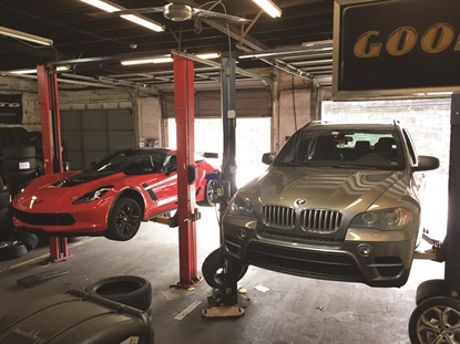 High end vehicles are the norm at Sports Car Tire in Wilmington, Del. The business offers tire and wheel service from three bays, but also manages a wholesale business and wheel repair shop on its property, which encompasses a full city block.