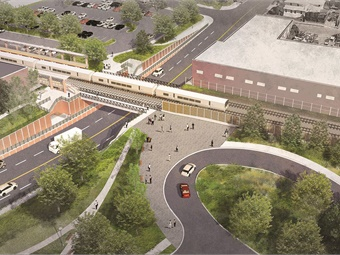 Rendering of grade crossing elimination at New Hyde Park, N.Y. Image: Stantec