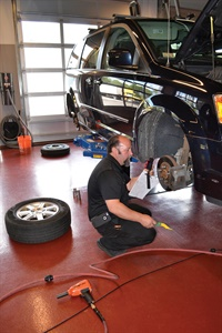 """Service Manager Ed DeGeorge will send the """"Get Transparency"""" video of the brakes to the vehicle owner."""