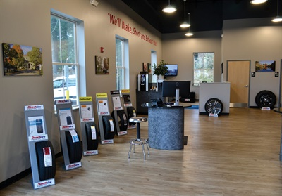 The open showroom features six tire displays, plus photos of the area taken by Direct Tire Chief Financial Officer and Human Resources Manager Clark Goodpaster.