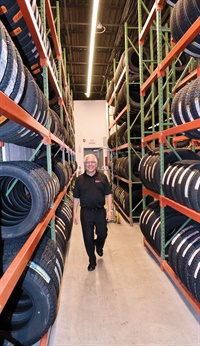 Owner Barry Steinberg says the Medway warehouse can stock up to 1,000 tires; its main lines are Toyo, Nokian, Continental and Pirelli.