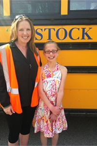 Stock Transportation bus driver Sarah Brake (left) saved the life of passenger Abby when she was choking on food.