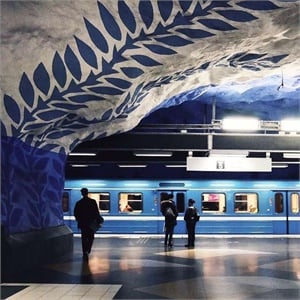 An example of some of Stockholm's subway station art.