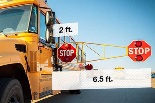 Bus Crossing Guard, an extra stop sign that extends about 6 feet from the side of the bus, has been installed on 10 buses that transport McKinney ISD students.