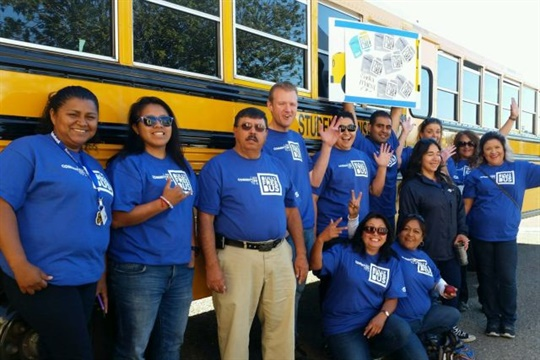 """STI's """"Bully-Free Buses"""" campaign was led by Blue Shirt Day. Drivers and other staff members wore blue shirts to show solidarity against bullying. Seen here is the company's team in Santa Maria, California."""