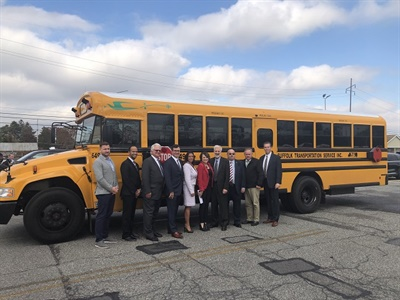 Suffolk Transportation Service and Bay Shore Union Free School District recently rolled out four new all-electric Blue Bird school buses.Photo courtesy Suffolk Transportation Service