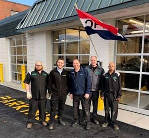 From left, Jon Stratouly, Joe Paquette, Ken Mayo, Anthony DiRoberto, and Gaspar Hache celebrated the opening of the newest Sullivan Tire and Auto Service location in Reading, Mass.