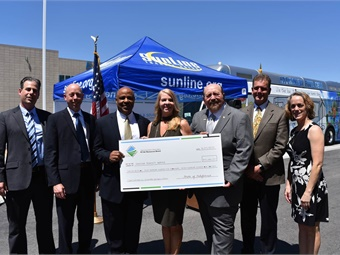 SunLine Transit CEO/GM Lauren Skiver (shown center) during the media event on April 21, 2017.