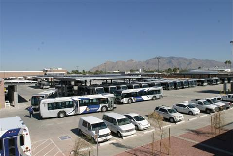 Sun Tran Northwest Facility bus storage yard.