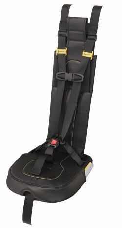 IMMI's new school bus seating product, the SafeGuard SuperSTAR, has a central adjust for one-pull tightening of the restraint system.