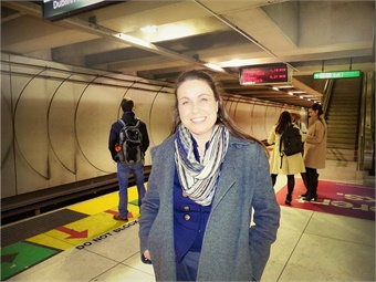 Susan Shaheen at the Embarcadero Station in downtown San Francisco in 2017. (Photo credit Laura Lee Huttenbach.)