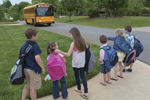 For Thomas Built's Back to School Photo Contest, parents submit a photo that depicts their child and a school bus.