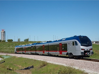The first Stadler FLIRT model trains have passed TEXRail's dynamic train testing at the Dallas/Fort Worth International Airport. Photo: Stadler
