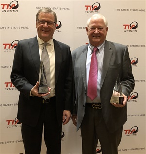 TIA named Fountain Tire CEO Brent Hesje (left) to the 2019 Hall of Fame and presented the 2019 Ed Wagner Leadership Award to Edward Burleson Sr., president of Central Marketing Inc.