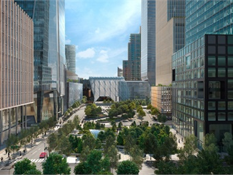 View of New York City's Hudson Yards looking South from the No. 7 subway station. Rendering: HudsonYards New York
