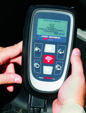 A TPMS scan tool allows you to reprogram the TPMS tire pressure setting to accommodate a change in tire inflation as a result of a change in tire size. Courtesy of Bartec.