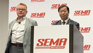 Tony Davenport, left, global vice president of the aftermarket, and Miller Feng, CEO, talk about the joint venture between TPMS manufacturers.