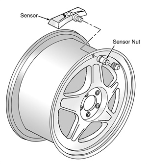 Figure 1: Exploded view of a clamp-in style tire pressure sensor.
