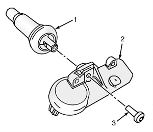 Figure 2: Exploded view of a snap-in style tire pressure sensor.