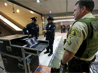 L.A. Metro's new body scanner technology allows law enforcement agents and Metro Security to screen rail and bus patrons without disrupting foot traffic and to take decisive, pre-emptive action if suspicious items are found. Photo: Metro