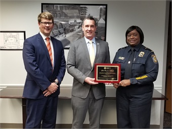 TSA Administrator, David Pekoske (center), presented the award to the MARTA Police Department during a ceremony at MARTA headquarters.