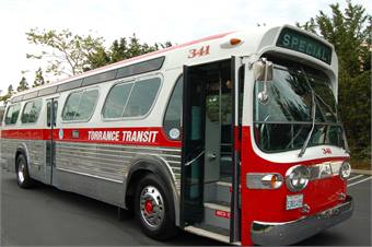 The 1963 GM New Look bus on loan from the City of Torrance was renovated by Torrance Transit staff.