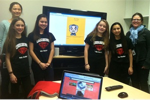 Team RUBIES — Rachel, Izzie, Isabella and Ava — met with Interactive Game Designer Laura Beukema (shown left) and Interactive Producer Joan Freese to solicit feedback on Bus Whiz, the computer game they designed to teach children about school bus safety. Photo courtesy Marie Domingo
