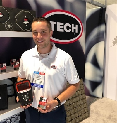 "Cody Lawless says Tech International's TPMS tools and sensor are a ""true one-sensor program."""